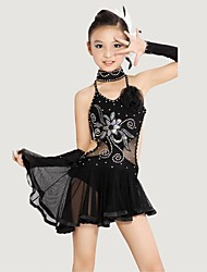 Latin Dance Children's Polyester/Lycra Rhinestone Performance Outfit Including Dress/Neckwear/Bracelet(Black/Yellow) Kids Dance Costumes