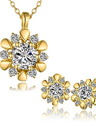 Gold Plated Fashion Jewelry Sets Necklace Stud Earrings