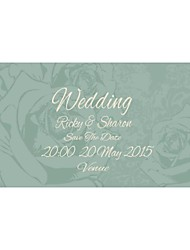 Personalized 50pcs/Set 19cm x 10cm Wedding Invitations Flower Pattern Save The Date Paper Card