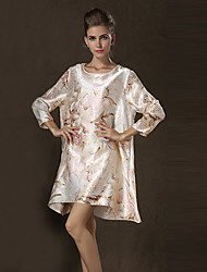 Women's Vintage/Sexy/Casual/Party Micro-elastic ¾ Sleeve Above Knee Dress (Satin/Cotton)