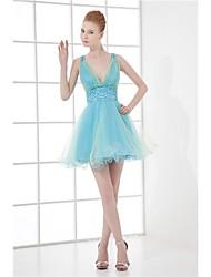Cocktail Party Kleid - Wie Bild Tülle - A-Linie - mini - V-Ausschnitt