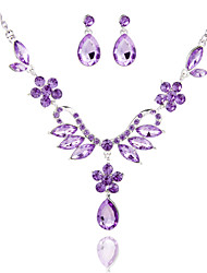 Ladies'/Women's Alloy Wedding/Party Jewelry Set With Rhinestone Purple