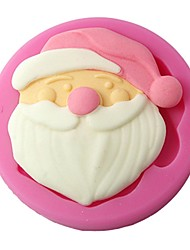 FOUR-C Silicone Mould Santa Claus Cupcake Top Mould Color Pink