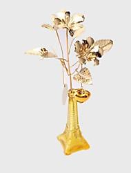 "12 ""h estilo moderno dourado syriacus Hibiscus flores no vaso de metal"