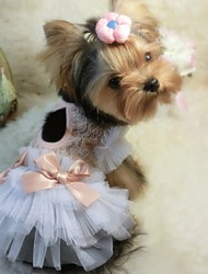 Dog Dress / Clothes/Clothing White / Pink Summer Bowknot Wedding / Cosplay
