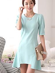 Women's Simplicity Sweety Ruffle Irregular Hem OL Style Sheath Dress