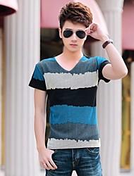 toevallige gestreepte korte mouw regelmatige t-shirts voor mannen (katoen)