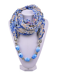 D Exceed Women Floral Printing Chiffon Scarf Olive Green Acrylic Brush Painting Beads Pendant Scarves