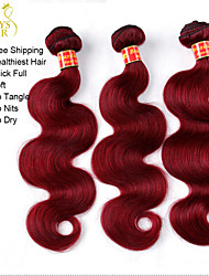 "3 Pcs Lot 12""-28"" Brazilian Virgin Hair Body Wave Wavy Burgundy Wine Red 99J Remy Human Hair Weave Bundles Tangle Free"