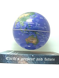 "6"" Rotating Magnetic Levitation Floating Blue Globe Map with Brown Earth Book Base"