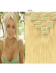 15 '' 7pcs clips en extensiones de cabello humano rubio 70g para la belleza hairsalon de las mujeres en la moda