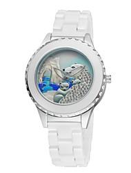 Women's Ceramic Watch Polar Bear Free Second Hand Vintage Bracelet Quartz Analog Wrist Watches Sparkle Rose Gold/Silver Cool Watches Unique Watches