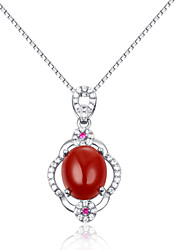 Fashion Shining Ladies' Silver Necklace With Red Garnet & Crystal
