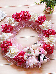 "13.8"" Rural Style Rose Red White Simulation Flower Garland with Toy Bears Plastic Circle Garland"