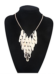 Women EU&US Elegant Layers Alloy Oval Cluster Bib Statement Necklace