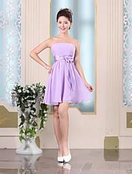 Vestido de Dama de Honor Corte A Strapless - Corto Gasa
