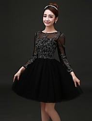 возвращение на родину выпускного вечера / официально платье вечера A-Line Бато колен атласные платья