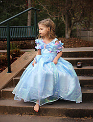 Girl's Summer Dress Inelastic Cinderella Princess Dress Thin Short Sleeve Dresses (Organza)