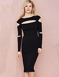 Women's Party/Cocktail Dress,Solid Round Neck Knee-length Long Sleeve Black Polyester / Spandex All Seasons