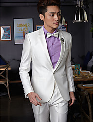 Tuxedos Tailorde Fit Slim Notch One-Button Cotton/Polyester Solid 2 Pieces White