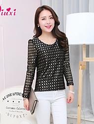 Qiuxi Women's Lace Micro-elastic Long Sleeve Regular Blouse (Lace)