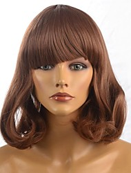 Capless Lady's Medium Short Length Brown Hair Wig