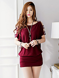 Women's Casual Hollow Beads Plus Size Bat Sleeves Loose Knit Dress