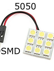 2pcs 9SMD 5050 White Light 12V LED Reading Panel Car Interior Dome Light