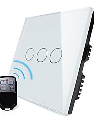 norme au Royaume-Uni, livolo blanc panneau de verre de cristal, lumière de la maison à distance sans fil, 3 postes 2 way switch, 110-250vac