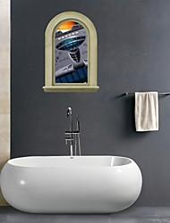 Adesivos de parede adesivos de parede 3D, Sala aeronaves banheiro decoração da parede mural pvc adesivos