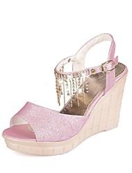Bombas / Tacones ( Rosado/Plateado/Dorado Zapatos con plataforma/Punta abierta - Tacón Cuña - Cuero sintético - para MUJERES