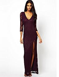 MDAL     Women's Sexy V-Neck ¾ Sleeve Dresses (Lace)