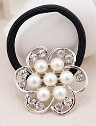 gran perla lazos para el cabello flor del rhinestone