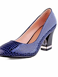 Women's Shoes Round Toe Chunky Heel Leather Pumps Shoes More Colors available