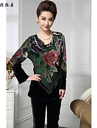 Women's Vintage/Print/Party/Work Long Sleeve Regular T-shirt (Silk/Others)