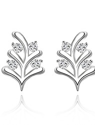lureme®Fashion Style Silver Plated With Zircon Branches Shaped Stud Earrings