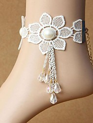 Flower Lace Chain Anklet Decorative Accents for Shoes One Piece