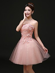 Cocktail Party Dress - Pearl Pink Plus Sizes A-line Strapless Short/Mini Lace
