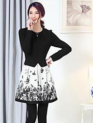 impressão de tinta chinesa moda costura manga longa vestido na altura do joelho da mulher (algodão / poliéster)