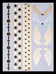 9pcs padrão misto metálicos tatuagens temporárias tatuagens partido tatuagens tatuagens de flash de ouro pena de casamento asa