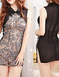 Gray Polyester Cheongsam Sexy Lingerie Maid Sexy Evening Dress