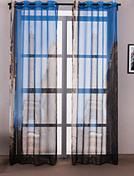(One Panel) Modern Architecture Polyester Print Curtain