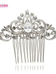 Neoglory Jewelry Flower and Drop Clear Rhinestone Hair Comb for Wedding/Lady Daily/Pageant