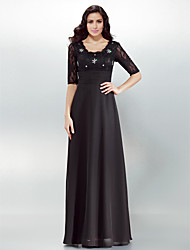 Sheath / Column Square Neck Floor Length Chiffon Formal Evening Dress with Crystal Detailing Lace Ruching by TS Couture®
