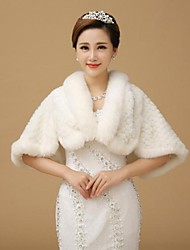 Fur Wraps Stoles Sleeveless Wool White