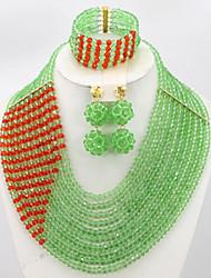 Nigerian Wedding Bride Gift Jewelry Set Fashion African Women Costume Jewelry Set