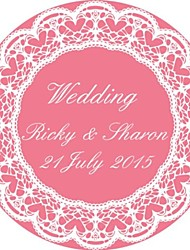 Personalized Wedding Tags Address Labels Envelope Sticker Pink circular Pattern Of Filmed Paper