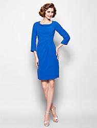 Vestido Para Mãe dos Noivos - Azul Real Tubo/Coluna Coquetel Manga 3/4 Chiffon
