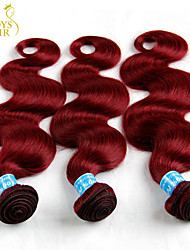 "3 Pcs Lot 12""-28"" Peruvian Virgin Hair Body Wave Wavy Burgundy Wine Red 99J Remy Human Hair Weave Bundles Tangle Free 6A"