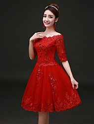 Homecoming Prom/Formal Evening Dress A-line Bateau Knee-length Lace/Satin Dress